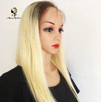 полный парик кружева цвета 613 оптовых-3 дюйма темный цвет корня#3/613 два тона ломбер парик человеческих волос 180density полный парик шнурка