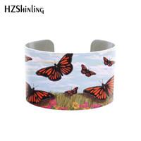kelebek manşet bilezik toptan satış-daisey Kelebek takılar kol düğmesi, mavi kelebeklerle fırçalanmış gümüş rengi, böcek takıları. Kadın bileklik için doğa hediyeler