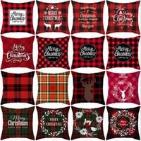 Wholesale couch decor for sale - Group buy Pillowcase Sofa Couch Cushion Cover Christmas Pillow Covers Plaid Elk Throw Pillow Case Linen Decorative Christmas Decor Designs C6326