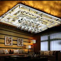 Wholesale rectangular modern lighting resale online - Modern LED Crystal Ceiling Light ceiling mounted K9 Crystal Chandeliers rectangular Pendant light for Living Room Bedroom Restaurant