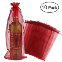 sacos de presente de garrafa de vinho organza venda por atacado-10pcs pura sacola de vinho de organza garrafa envoltório sacos de presente (vinho tinto)