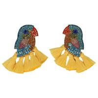 ingrosso nuovi orecchini lunghi-2019 Nuovi orecchini di goccia di cristallo per i monili delle donne Colorful Parrot Vintage Bohemian Long Nappa Wedding Party Ciondola orecchini