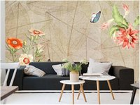 Wholesale butterfly flowers wallpaper stickers resale online - WDBH d wallpaper custom photo Butterfly Love Flower European Pastoral Background Wall Wall covering home decor wall art d stickers