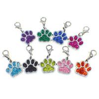 tatzendruckschmuck großhandel-Bling Emaille Katze Hund Bär Paw Prints rotierenden Karabinerverschluss Schlüsselanhänger Schlüsselanhänger Tasche Schmuckherstellung Haustier Produkt