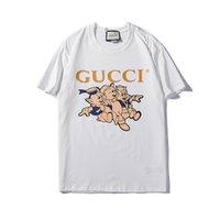 moda tişört kadın sokak toptan satış-Sıcak 2019 Yeni moda piggy markalar Sokak giyim Avrupa Paris Moda Erkekler T Gömlek Yüksek Kalite Pamuk Tshirt luxurys Kadınlar Tee T-shirt S-2XL 11