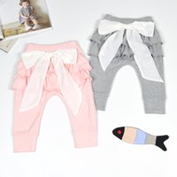 joker bow al por mayor-Leggings para niñas Pantalones sólidos Arco grande Pantalones de diseñador de cintura media Encaje Joker salvaje Banda elástica 23