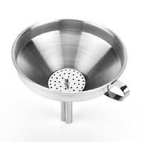 embudos de cocina de acero inoxidable al por mayor-Embudo para miel de aceite de cocina de acero inoxidable con filtro / filtro desmontable para herramientas de agua líquida de perfume Coladores de acero inoxidable