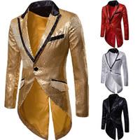 ropa de vestir para hombre para la boda al por mayor-Mens Gold Shiny Metallic Sequin Tuxedo / Tailcoat hombre elegante vestido / cena Blazer chaqueta hombre fiesta ropa de boda