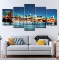 pintura da noite da vista da cidade venda por atacado-(Só Lona Sem Moldura) 5 Pcs Brooklyn Bridge City Night View Arte Da Parede HD Impressão Pintura Da Lona Moda Pendurado Fotos