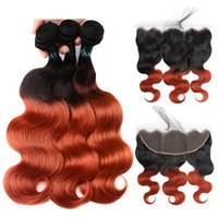 Wholesale ombre closure wefts resale online - Brazilian Ombre b Body Wave Human Remy Hair Weaves Bundles with Closure Frontals Double Wefts Hair Extensions