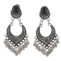 kleine silberne perlen großhandel-Designer Schmuck Ohrringe für Frauen Vintage schwarz antik Silber Strass Ohrstecker mit kleinen Perlen Quaste Ohrringe