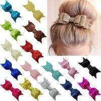lazo brillante para el cabello al por mayor-Niñas lentejuelas Big Bow Hairclips Moda Niños Mujeres Glitter Bow Hair Clip Shiny Barrettes Tocado HHA698