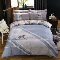 Wholesale blue comforter pink flowers resale online - soft cotton designs reactive print bed sheet bed linen four pieces bedding set flower strip cartoon designs red blue pink beil