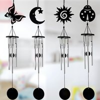 ingrosso ornamenti in metallo nero-Black Metal Multi-tube Handmade Music Wind Chimes Casa Artigianato Ornamenti Piccolo pendente decorativo