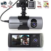 видеокамера 2.7 lcd оптовых-Камера автомобиля DVR R300 с GPS и 3D G-Sensor LCD X3000 Cam Видеокамера Циклическая запись Цифровой зум тире Cam Dual Lens