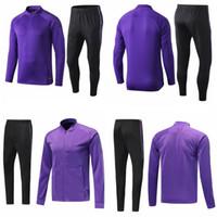 çocuklar koşu setleri toptan satış-19 20 tottenham eşofman kitleri mor çocuklar erkek futbol koşu takım elbise futbol eğitimi takım elbise set uzun kollu üniforma survetemen ceket