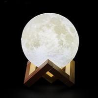круглый световой короб оптовых-3D печать USB аккумуляторная Лунная лампа LED Night Light творческий Сенсорный выключатель Лунный свет настольная лампа для украшения спальни рождественские огни