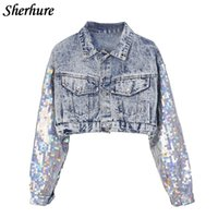 ingrosso giacche con cappotti in stile punk-2019 Fashion Design Punk Style Women Spring Jacket Coat Paillettes Manica Donna Denim Long Jacket Coat Crop Top Abrigos Mujer Y190905