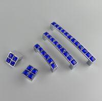 Wholesale chrome drawer knobs for sale - Group buy New Crystal Glass Series Diamond Dark Blue Furniture Handle Door Dresser Drawer Wardrobe Kitchen Cabinets Cupboard Dresser Pull Door Knobs