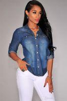 ingrosso lunghe giacche blu jean-Primavera Retro Donna Casual Blu Jean Denim Giacche Manica lunga Slim Top Moda Cool Giacche S-2XL