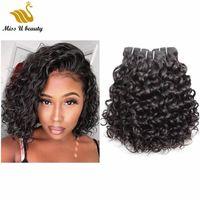extensões de cabelo kinky curls venda por atacado-Pacotes de cabelo humano Onda Natural Onda de Água Kinky Em Linha Reta Kinky Onda Do Cabelo Tece Trama Do Cabelo Virgem Extensões