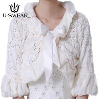 искусственный белый меховой свадебный пиджак оптовых-U-SWEAR 2018 Новый В Теплый Искусственный Мех Белый Красный Свадебные Куртки Женщин Элегантный Лук Болеро Свадебные Аксессуары Свадебные Обертывания