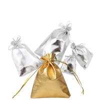 satin tunnelzug geschenk taschen groihandel-50 teile / los Silber Gold Folie Tuch Kordelzug Taschen Kleine schmuckbeutel Organizer Satin Weihnachten Hochzeit Geschenk Schmuck Beutel Tasche