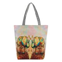 bolso de mujer amarillo al por mayor-Bolso de hombro con estampado nacional de viento para mujer Dos elefantes amarillos