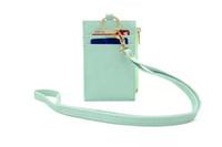 брелок для ключей брелок для ключей оптовых-Тонкий PU шею карточку-кошелек с миниатюрным держателем для карт Портативный держатель для удостоверения личности Автобусные карточки Крышка Дело Офисная работа Брелок Инструмент для ключей