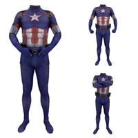 ingrosso uomini della lycra body-3D stampa di Capitan America Cosplay 3D Printing Spandex di Lycra Zentai Body Suit tute uomo costumesMX190923