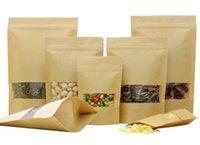 ingrosso borse di plastica artigianali-14 TaglieSmell Proof Bags Kraft Paper Zip Lock Stand Up Conservazione degli alimenti Sacchetto per finestre in plastica Craft Paper Riutilizzabile Doypack Seeds Bean Packing Pouch