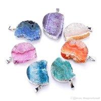 achat geode anhänger großhandel-Kristall Anhänger Natürlicher Achat Die Geode Cluster Knospen Band Mond Halskette Silber Platte Collana Colar Feminino Halsband