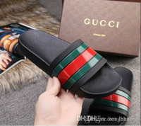 Wholesale Designer Shoes Luxury Slide Summer Fashion Wide Flat Slippery Sandals Slipper Flip Flop ShippingGUCCI men woman shoes