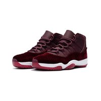 kidding roter samt großhandel-Mens AJ 11 Basketball-Schuhe Retro Jumpman XI Air Flug 11S Raum Jam 45 Velvet Red Night Maroon Damen Kinder Turnschuhe Stiefel mit Original-Box