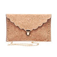 Wholesale cork material resale online - Cork Flouncy leather Women Clutch Ruffled Cork Material Wallet Purse Envelope Clutch Leather Handbag with Scalloped Edges DOM106308