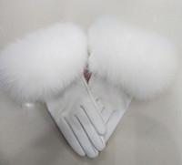 invierno mano femenina guante al por mayor-Mujer de lujo guantes de cuero real con Piel real del manguito mujeres caliente del invierno guantes de cuero genuino casual de las señoras calentador de manos
