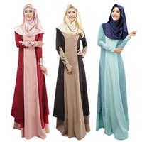 türkische roben groihandel-Kontrast Islamische Kleidung Muslimische Türkische Kleider Abayas Damen Patchwork Mode Abaya Dubai Bangladesch Robe Langes Kleid Kaftan