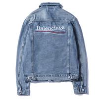 mode-jeansjacken frauen großhandel-Großhandel Männer Marke Jacken Mode Brief Denim Jacke Männer und Frauen Vintage Style Webkante Jean Mäntel Marke Kleidung Denim Jacke