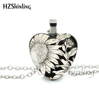 Wholesale picture heart pendant resale online - New Sunflower Heart Necklace Yellow Sunflower Pendant Glass Picture Jewelry Silver Heart Necklace HZ3