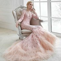 Wholesale muslim dresses weddings for sale - Group buy Luxury Pink Muslim Evening Dresses Feather Long Sleeves Lace Appliques Trumpet Prom Party Dresses Sweep Train Wed Gown BC2730