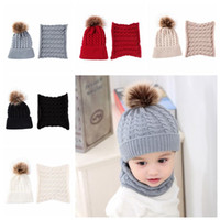 Wholesale grey scarf hat set resale online - 5 Colors Baby Cap Scarf Set Toddler Winter Warm Fur Ball Hats O Ring Scarves Kids Knitted Beanies Scarf Neck Set CCA10883 set