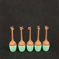 tetera de mano al por mayor-Estilo gestual Colador de té Gestos con las manos creativas Tetera Pulgar Ok Sí Palm Love You Style Infusor de té de silicona RRA1826