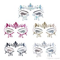 Wholesale Handpicked Bohemia Tribal Style D Crystal Sticker Face And Eye Jewels Forehead Stage Decor Temporary Tattoo Sticker Bikini Decoration