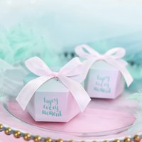 Wholesale return gift birthday party for sale - Group buy Hexagon Paper Candy Box Baby Shower Birthday Party Christmas Party Gift Box with Ribbon For DIY Decor Guests Return Gift