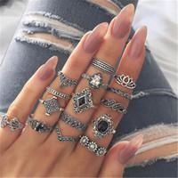 venta de joyas antiguas al por mayor-15 unids / set Lotus Ring Sets Bohemia Ancient Silver Flower Lotus Ring Band Knuckle Rings Mujeres Joyería de moda 2020 venta caliente