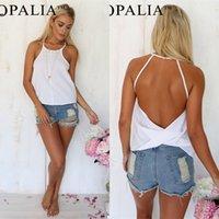 yular yüzsüz bluzlar toptan satış-Aranan-Sonra Kadınlar Yaz Gevşek Rahat Halter Şifon Backless Gömlek Bluz Bayanlar Tops Tops