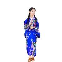 ropa japonesa niños al por mayor-Shanghai Story Niños Pavo real Ropa Yukata Chica Kimono japonés Vestido Niños Yukata Haori Traje Japones tradicional Kimono Niño