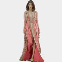 vestidos de cortina elie saab venda por atacado-2019 Novo vestido rosa Marrocos Turquia vestes de alta qualidade roupas de manga longa tecido em dubai islâmico vestes vestidos de noite Vestido De Festa