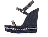 Wholesale wooden heeled shoes resale online - 2019 Ladies Wedge Hemp bottom Sandals Riveted high heeled shoes with wooden slope Ladies Ankle Strap Women s Pumps Party Dress EU35 Wi