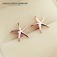 pequeños aretes dulces al por mayor-Rose Gold Color Sweet Small Starfish Style Simple Star-shaped Lady Stud Earring Accesorios de moda al por mayor